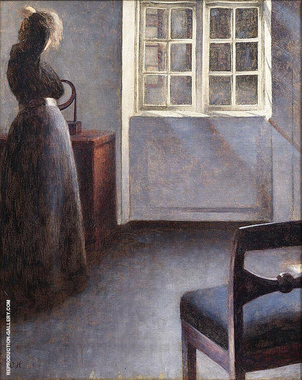 Woman Before a Mirror Strandgade 30 By Vihelm Hammershoi