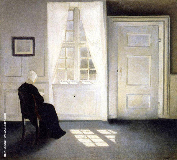 Woman Reading in The Sunlight By Vihelm Hammershoi