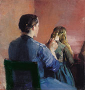 A Mother Plainting her Little Daughter's Hair By Christian Krohg
