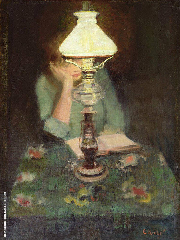 Oda with a Lamp Painting By Christian Krohg - Reproduction Gallery