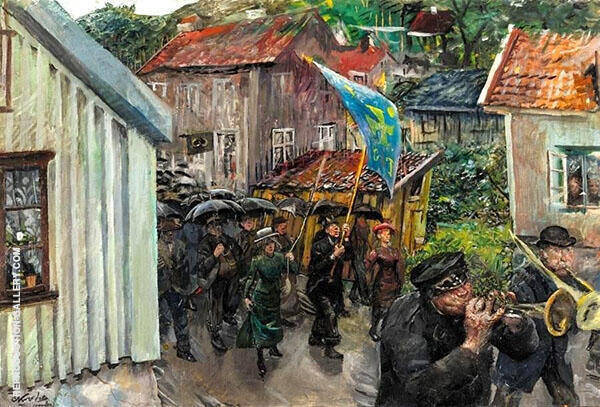 Procession of The Abstemious Painting By Christian Krohg