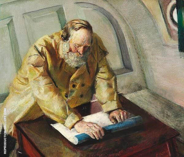 Reading The Chart Painting By Christian Krohg - Reproduction Gallery