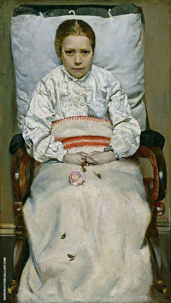 Sick Girl Painting By Christian Krohg - Reproduction Gallery