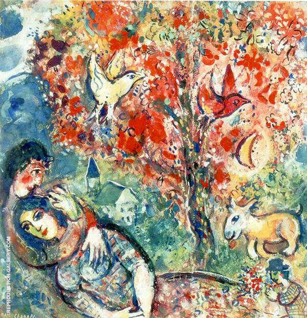 The Enamoured By Marc Chagall | Oil Painting Replica On Canvas