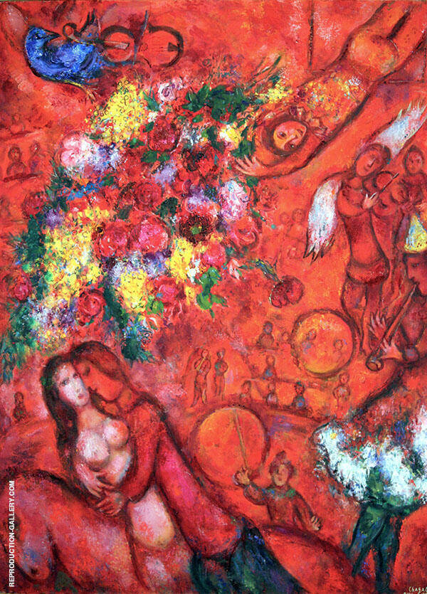 Bouquet and Red Circus Painting By Marc Chagall - Reproduction Gallery