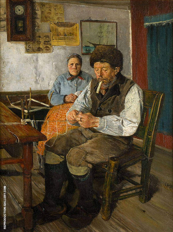 The Net Mender Painting By Christian Krohg - Reproduction Gallery