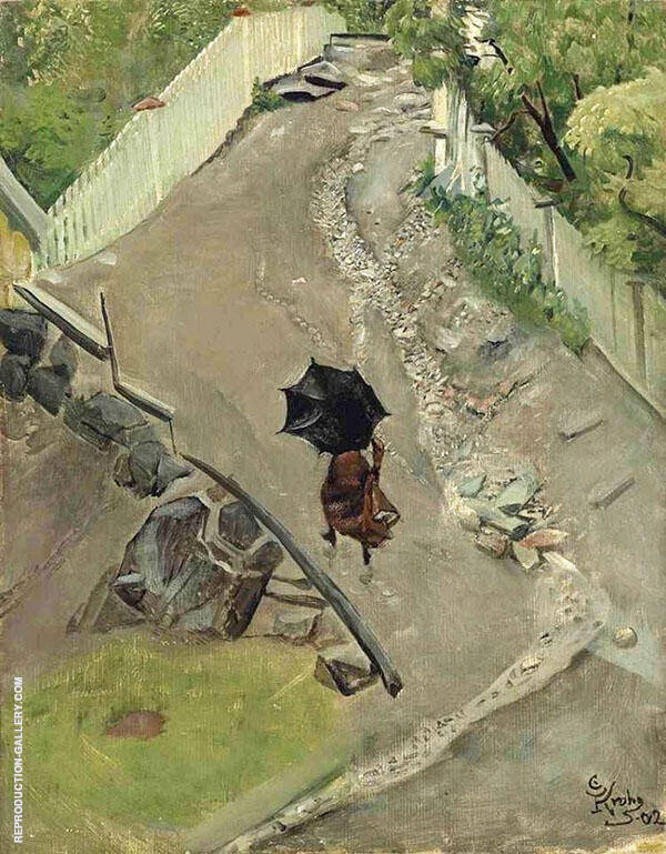 The Umbrella Painting By Christian Krohg - Reproduction Gallery