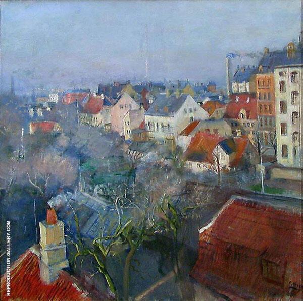 View over Frederiksberg Copenhagen 1890 Painting By Christian Krohg