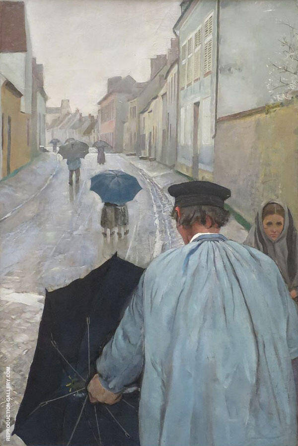 Village Street in Normandy Painting By Christian Krohg