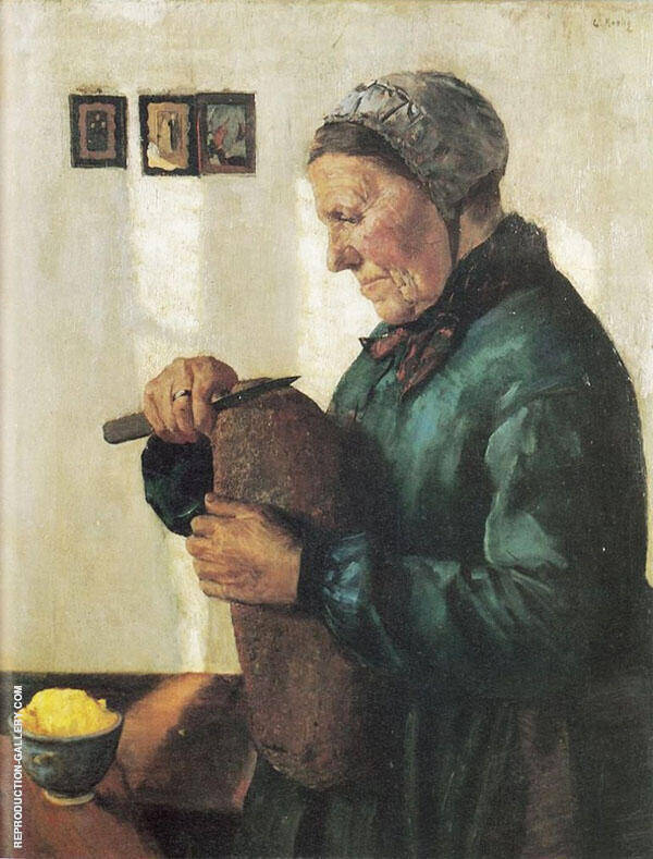 Woman Cutting Bread 1879 Painting By Christian Krohg