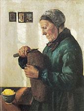 Woman Cutting Bread 1879 By Christian Krohg