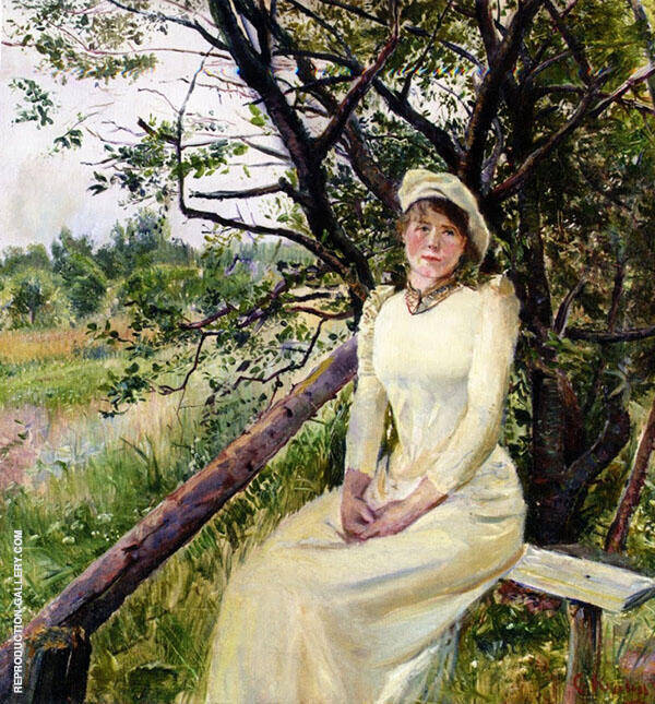 Young Woman on a Bench Painting By Christian Krohg - Reproduction Gallery