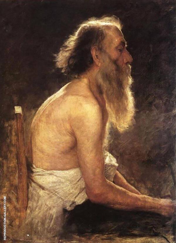 Half Length Figure Old Man By John Ottis Adams