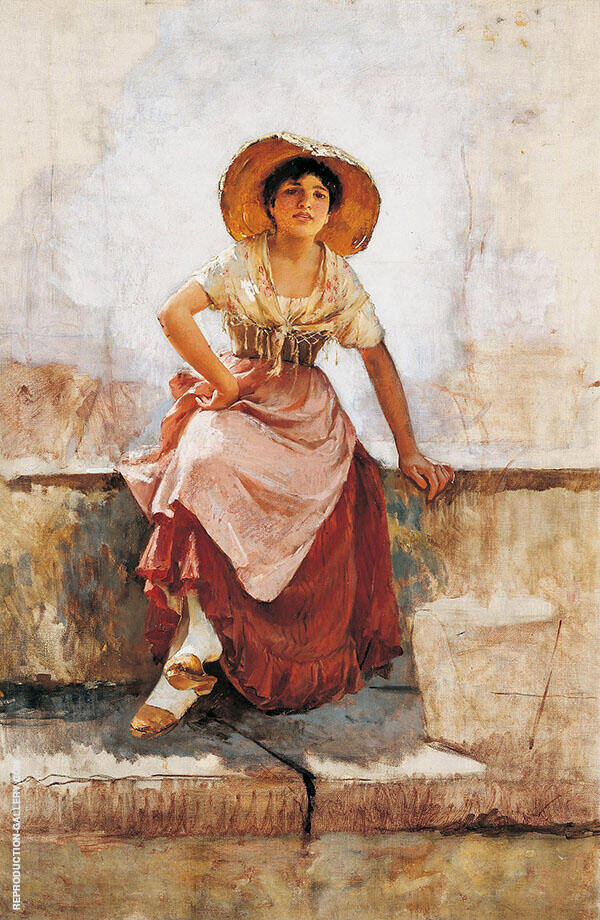 Florentine Flower Girl c1886 By Frank Duveneck