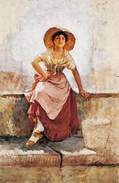 Florentine Flower Girl c1886 By Frank Duveneck
