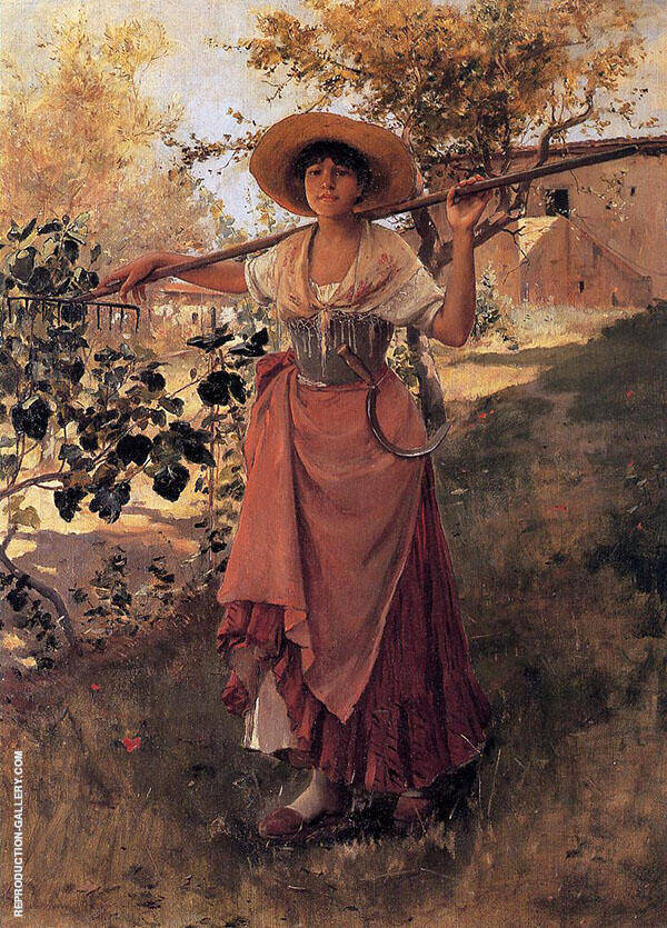 Girl with Rake c1884 By Frank Duveneck