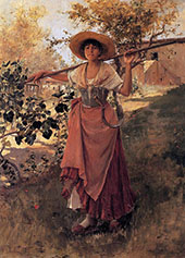 Girl with Rake c1884 By Frank Duveneck
