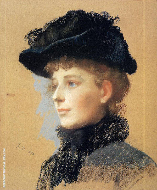 Portrait of a Woman with a Black Hat 1890 By Frank Duveneck