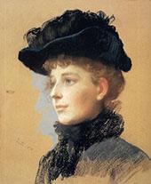 Portrait of a Woman with a Black Hat 1890 By Frank Duveneck