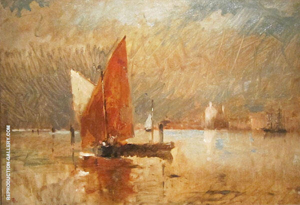 Red Sail in The Harbor at Venice By Frank Duveneck