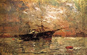 Steamer at Anchor Twighlight Venice By Frank Duveneck