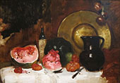 Still Life with Watermelon 1878 By Frank Duveneck
