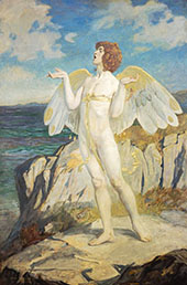 Angus Og God of Love and Courtesy Putting a Spell of Summer Calm on The Sea By John Duncan