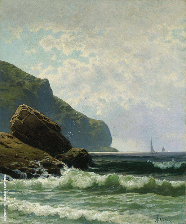 Seascape with Boats Offshore Painting By Alfred Thompson Bricher