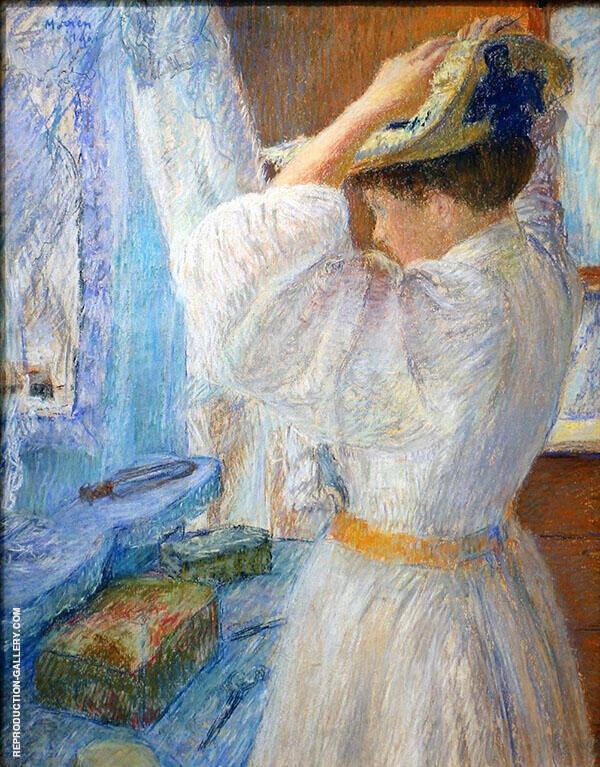 Donna che si mette il suo cappello 1901 By George Morren