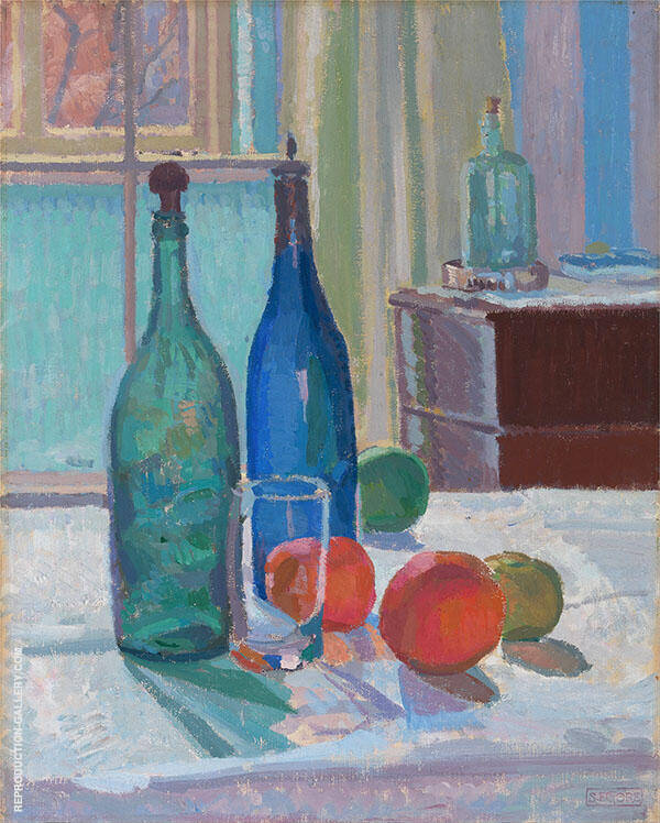 Blue and Green Bottles and Oranges Painting By Spencer Gore