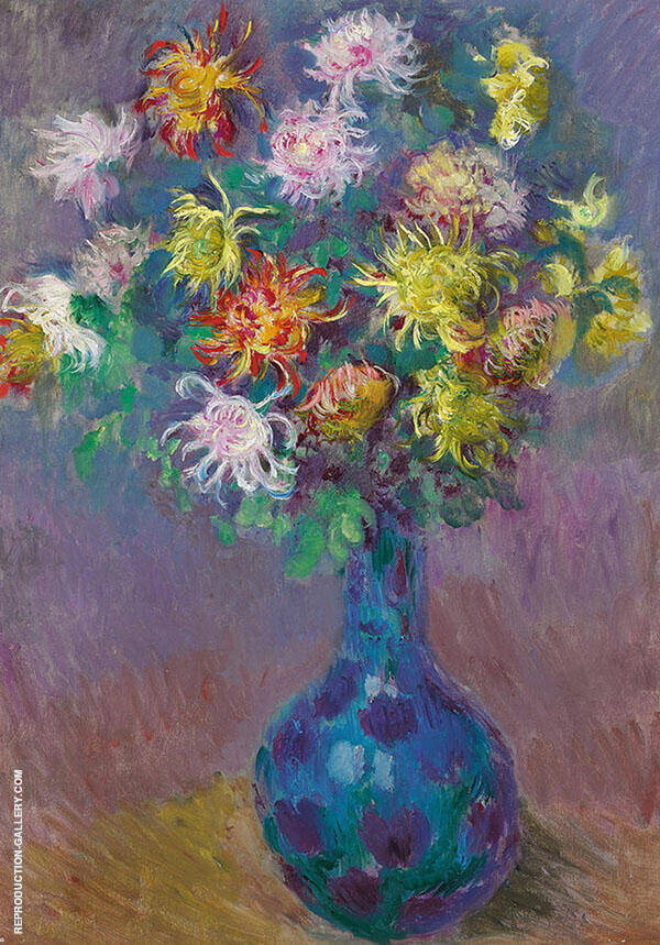 Vase of Chrysanthemums Painting By Claude Monet - Reproduction Gallery