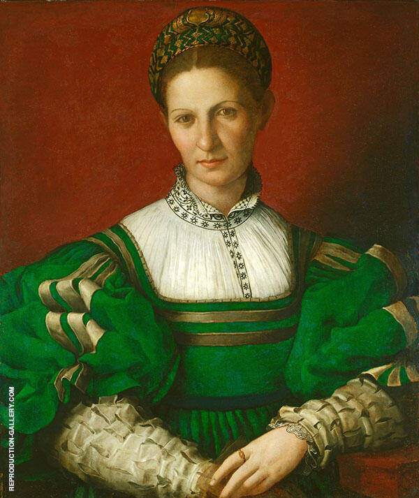 Portrait of a Lady in Green Painting By Agnolo Bronzino