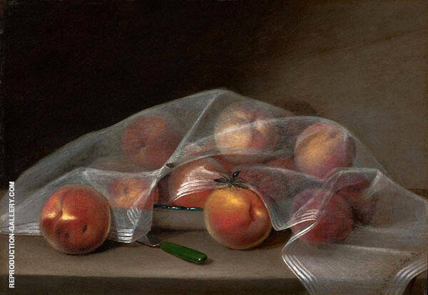 Fruit Piece with Peaches Covered by a Handkerchief 1819 by Raphaelle Peale | Oil Painting Reproduction Replica On Canvas - Reproduction Gallery