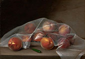 Fruit Piece with Peaches Covered by a Handkerchief 1819 By Raphaelle Peale