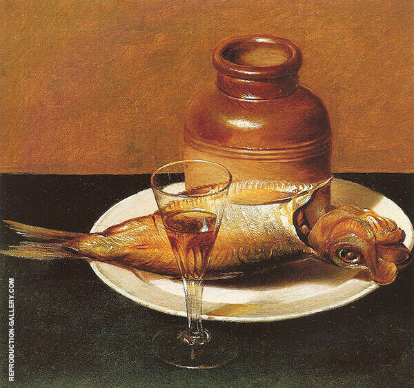 Still Life with Jug and Fish by Raphaelle Peale | Oil Painting Reproduction Replica On Canvas - Reproduction Gallery