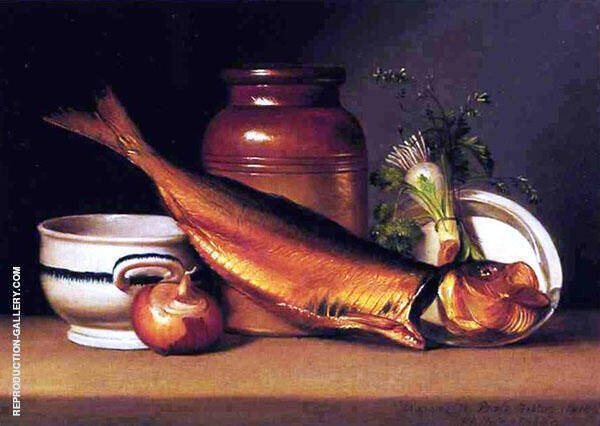 Still Life with Dried Fish by Raphaelle Peale | Oil Painting Reproduction Replica On Canvas - Reproduction Gallery