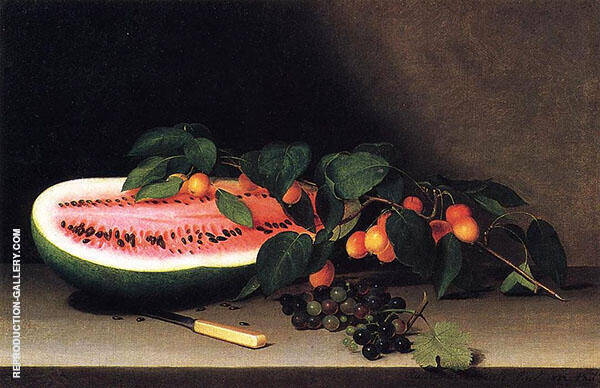 Still Life with Watermelon 1822 by Raphaelle Peale | Oil Painting Reproduction Replica On Canvas - Reproduction Gallery