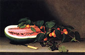 Still Life with Watermelon 1822 By Raphaelle Peale
