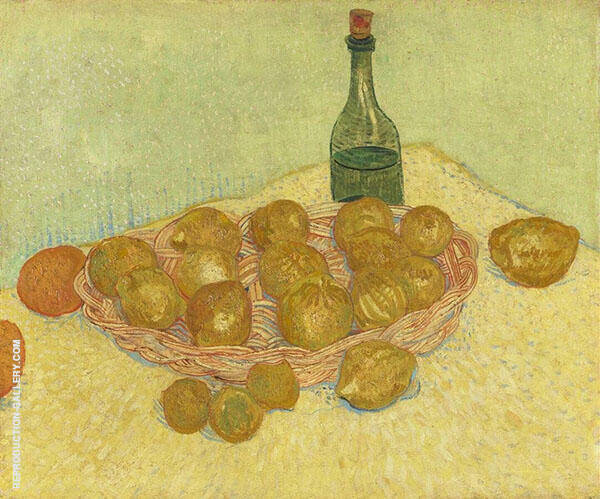Basket of Lemons and Bottle Painting By Vincent van Gogh