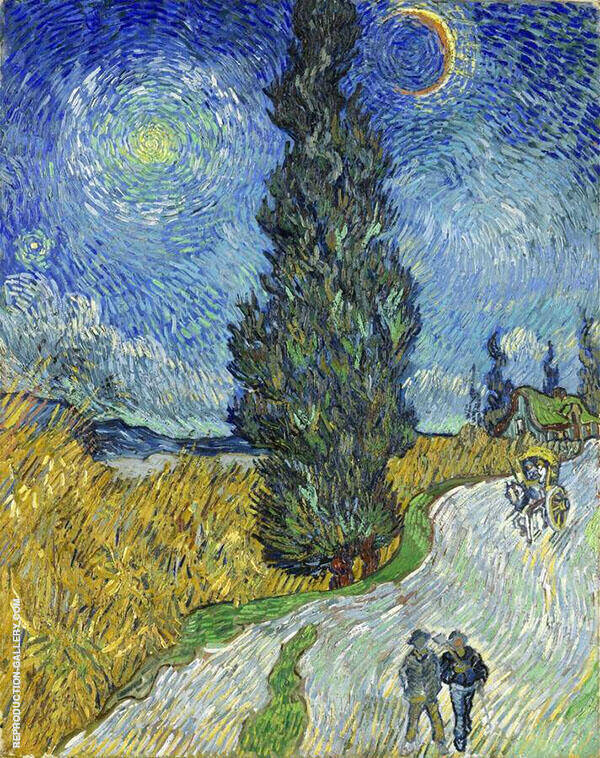 Country Road in Provence by Night 1890 Painting By Vincent van Gogh