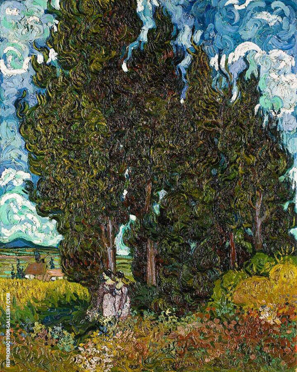 Cypresses with Two Figures 1890 Painting By Vincent van Gogh