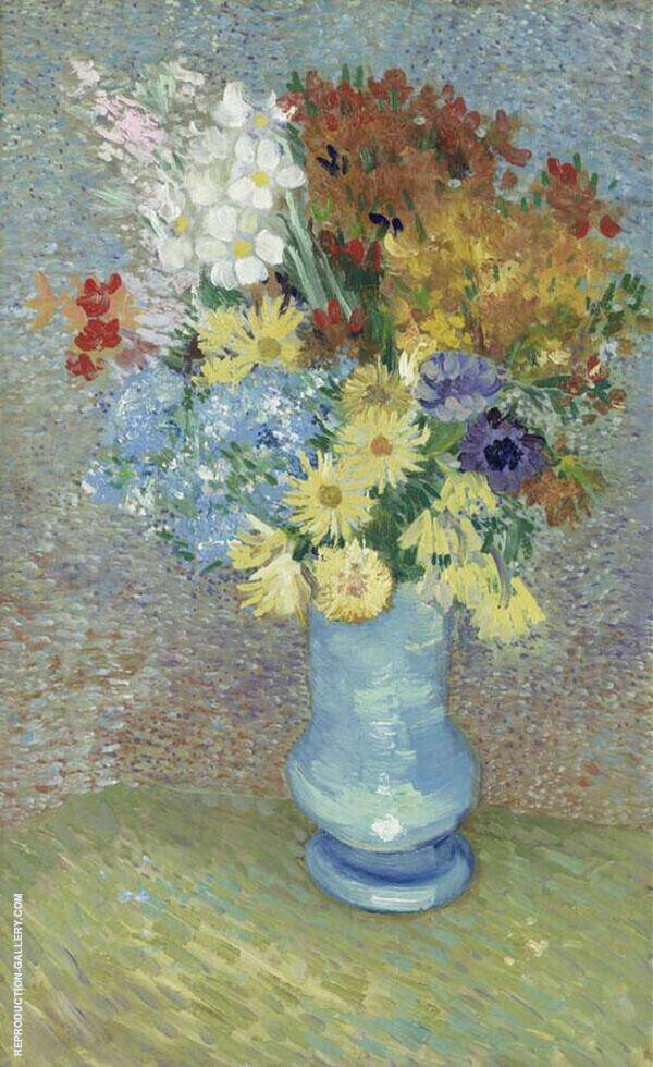 Flowers in a Blue Vase 1887 By Vincent van Gogh