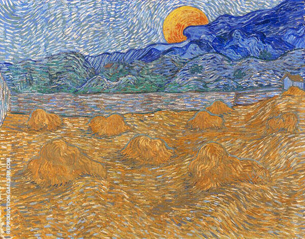 Landscape with Wheat Sheaves and Rising Moon 1889 By Vincent van Gogh