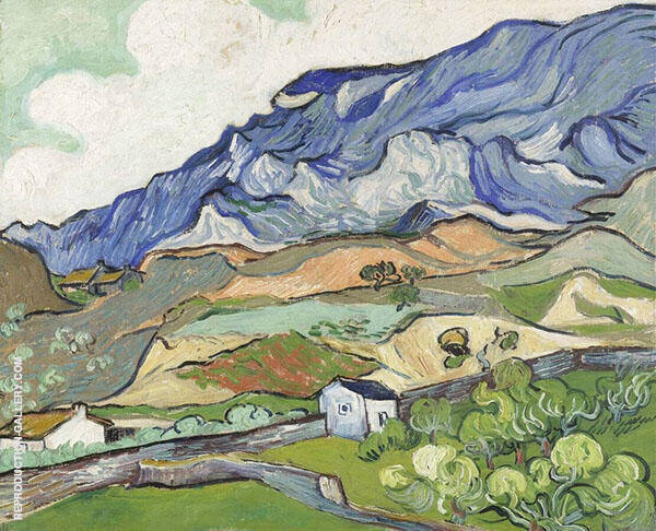 Mountainous Landscape Seen over The Wall of The Asylum 1909 Painting By ...