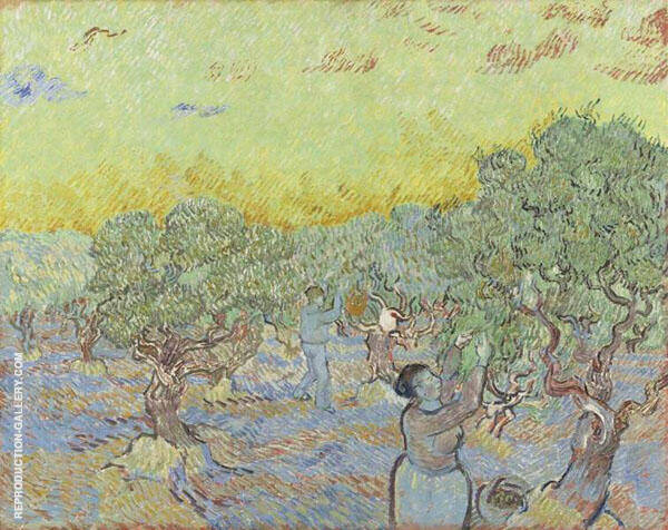 Olive Grove with Two Olive Pickers 1889 By Vincent van Gogh