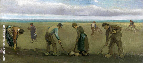 Peasants Planting Potatoes 1884 By Vincent van Gogh