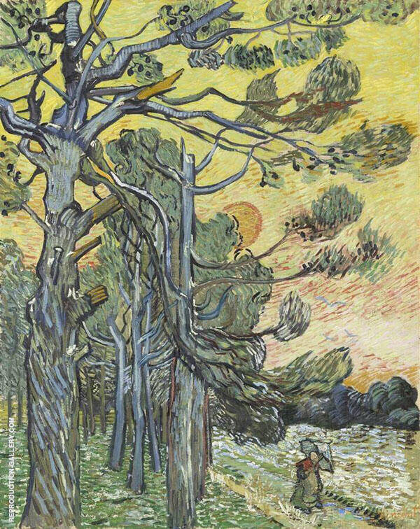 Pine Trees at Sunset 1889 Painting By Vincent van Gogh