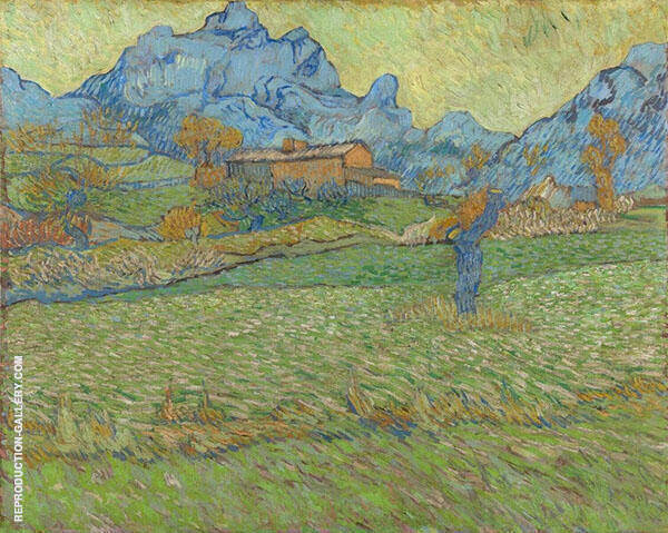 Wheat Fields in a Mountainous Landscape 1889 Painting By Vincent van Gogh