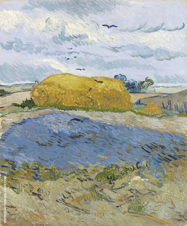 Wheat Stack Under a Cloudy Sky 1889 Painting By Vincent van Gogh