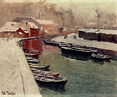 A Snowy Harbor By Frits Thaulow